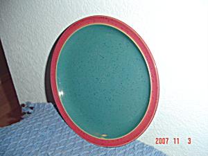 Denby Harlequin Salad Plates Green Center Red Rim (Image1)