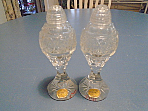 Bohemia Glass Tall Salt And Pepper Shakers W/stickers