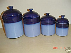 Sango Nova Blue Coffee Canister Old Style