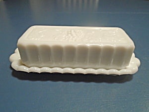 Westmoreland Paneled Grape Milk Glass Covered Butter Dish