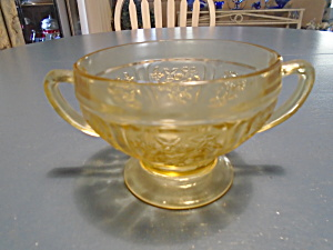 Federal Cabbage Rose Depression Glass Open Sugar Bowl