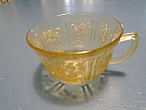 Federal Glass Amber Cabbage Rose Cups (No Saucers)