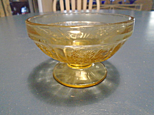 Federal Glass Amber Cabbage Rose Sherbet Cups