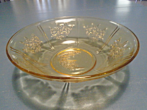 Federal Glass Amber Cabbage Rose Round Serving Bowl