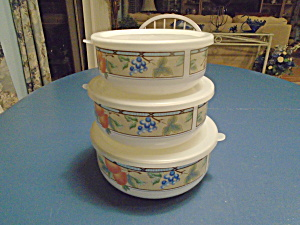 Mikasa Garden Harvest Set Of 3 Covered Storage Tins