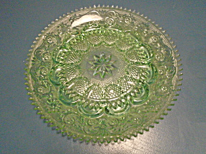 Indiana Tiara Sandwich Glass Chantilly Green Deviled Egg Plates  (Image1)