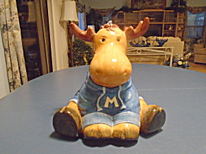 Harry And David Moose Cookie Jar W/blue Sweater So Cute