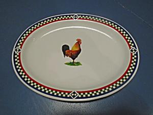 International Ella's Rooster Oval Platter