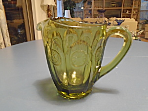 Fostoria Coin Glass Olive Green Small Pitcher 32 Oz.