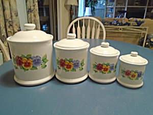 Corelle Summer Blush Set Of 4 Canisters W/covers