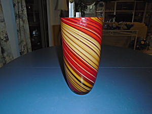 Art Glass Orange And Red Stripes 10 In. High Beautiful