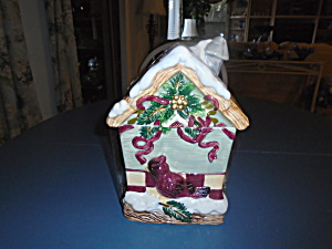 Bird House Ceramic Cookie Jar W/birds Really Pretty