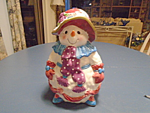 Mrs. Snowman Ceramic Cookie Jar By Bella Casa