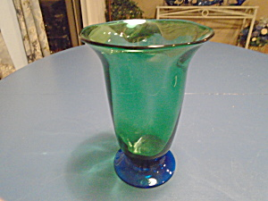 Orrefors Green And Blue Footed Flare Top Vase Vintage Louise