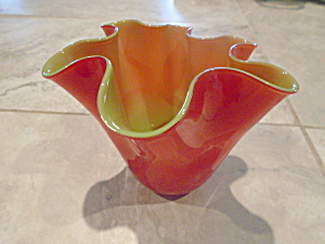 Gorgeous Designs Cased Short Red/green Ruffled Vase/candleholder