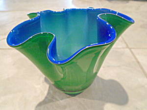 Gorgeous Designs Cased Short Green/cobalt Ruffled Vase/candleholder