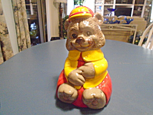 Colorful Red and Yellow Bear Cookie Jar (Image1)