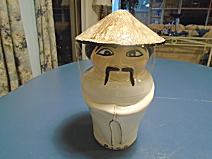 Chinese Man Rice Jar Vintage Maker Unknown