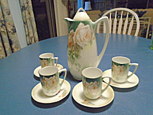 Rs Germany Vintage Porcelain Tea Set/ Chocolate Set W Roses