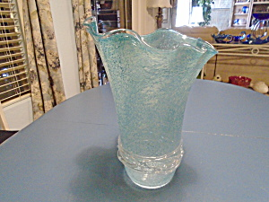 Art Glass Mid Century Light Blue Large Vase