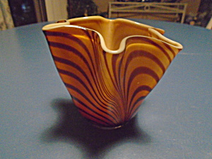 Art Glass Mid Century Gold And Brown Stripe Small Vase