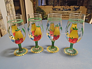 Set Of 4 Tall Goblets Hand Painted W/red/yellow Peppers Style 1