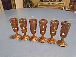Clear Shot Glasses With Hammered Copper Sleeves Set Of 6