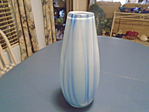Art Glass Light Blue Stripes Tall Vase 14.5 In.