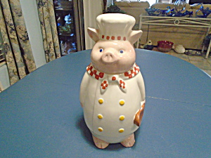 Pig Chef Ceramic Cookie Jar Cute And Tall 14 In.high