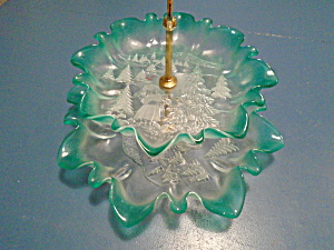 2 Tier Green And Clear Glass Christmas Tidbit Tray Very Pretty