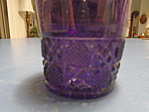 Vintage Amethyst Purple Embosed And Etched Rocks Glasses