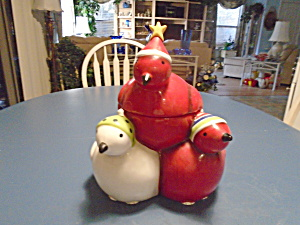 Oneida 3 Birds Christmas Cookie Jar