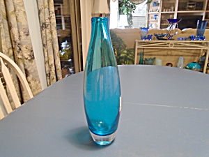 Art Glass Bright Blue With Clear Bottom Vase