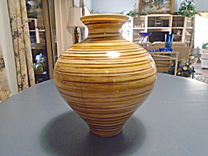 Made In Spain Large Vase Brown Stripe Art Glass