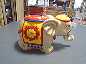 David's Cookies Circus Elephant Ceramic Cookie Jar