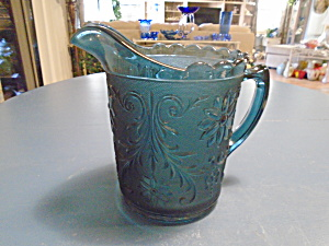 Indiana Glass Tiara Amber Sandwich Glass Colonia Blue Pitcher