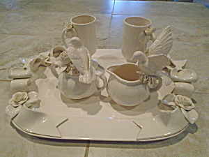 Paper Windows Tray, Mugs, Cream, Sugar Beautiful Set