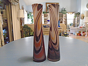 Art Glass Hand Blown Pair Of Vases Purples, Blacks, Multi Colors