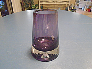 Art Glass Block China Hand Blown Glass Vase Purple & Clear