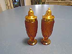 Indiana Glass Tiara Amber Sandwich Footed Salt/pepper Shakers