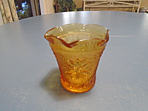 Indiana Glass Tiara Sandwich Amber Votive Candle