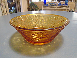 Indiana Glass Tiara Amber Sandwich 8 In. Round Serving Bowl