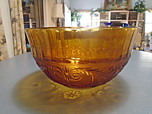 Indiana Glass Tiara Sandwich Amber Punch Bowl Rare Find