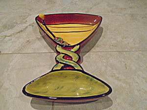 Cic Martini Glass Shaped Chips And Dip Bowl + 2 Dishes