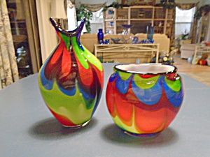 Art Glass Cased Bright Colored Pair Of Vases Hand Blown Glass