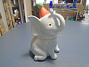 Home Little Blue Elephant w/Party Hat Cookie Jar (Image1)