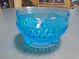Indiana Glass Bright Blue Diamond BonBon Bowl   (Image1)