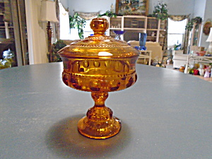 Colony Crown Amber Covered Compote Thumbprint