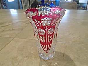 Crystal Cut Glass Vase Clear Flowers On Red Glass