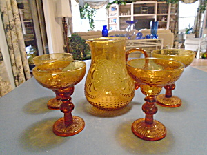 Depression Amber Zrike Renaissance Pitcher And Goblet Set